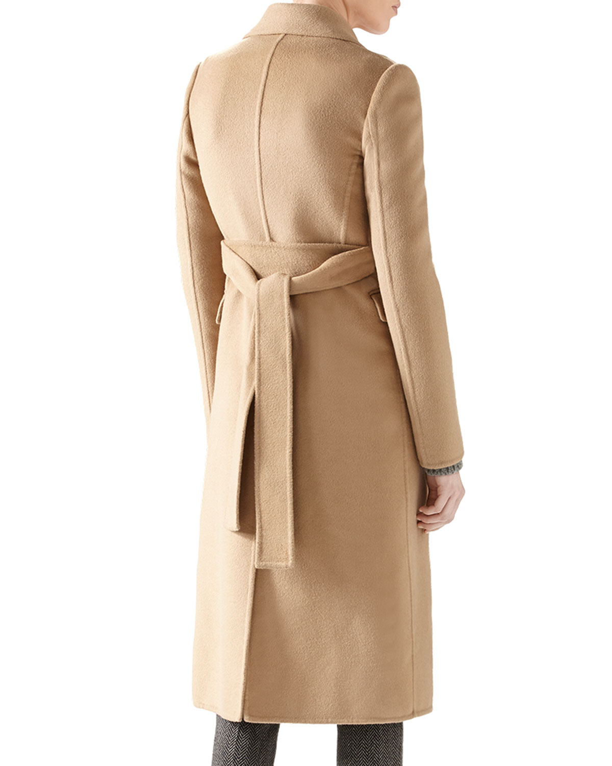 Gucci Double Wool Belted Coat in Natural | Lyst