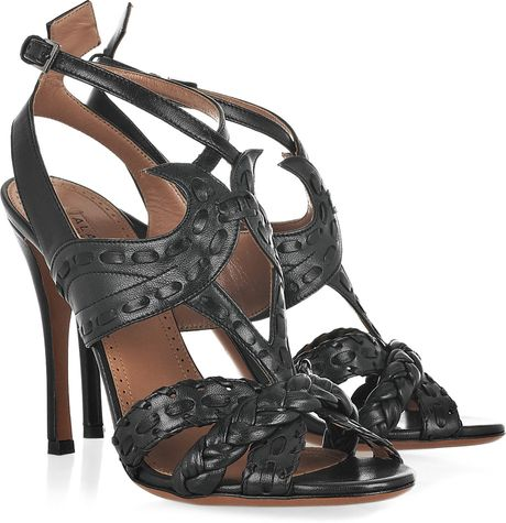 Alaïa Cutout Leather Sandals in Black (green) - Lyst