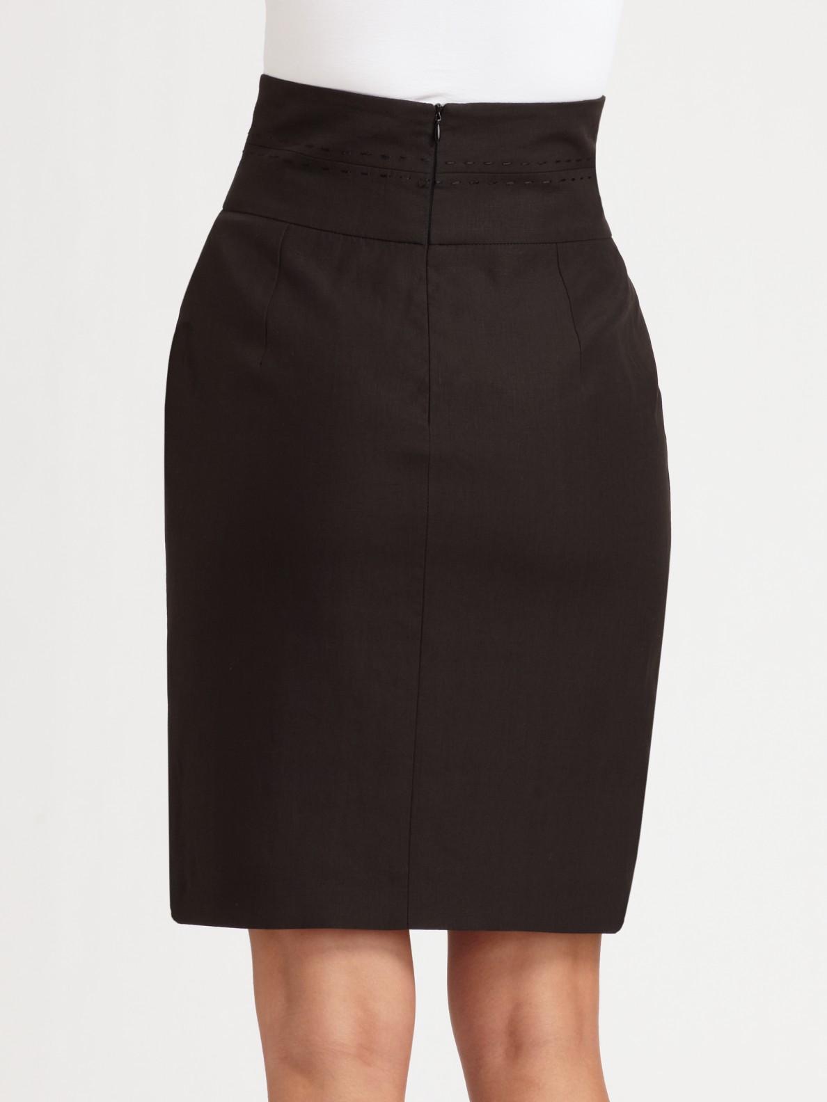 Armani Linen High Waisted Skirt in Black | Lyst