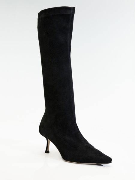 jimmy choo stretch suede boots in black lyst
