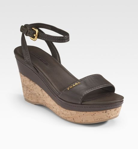 Prada Cork Wedge Sandals In Gray Grey Lyst