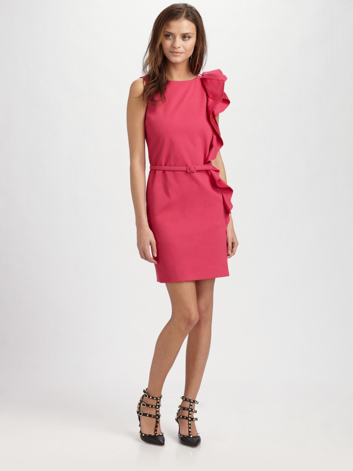 Lyst Red Valentino Belted Ruffle Dress In Pink
