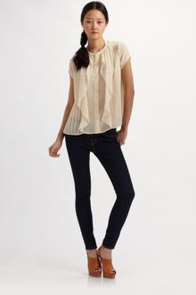 See By Chloé Pleated Ruffle Blouse - Lyst