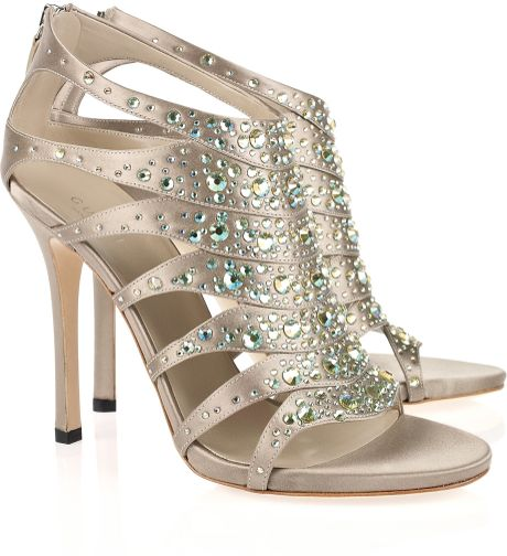 Gucci Crystal-embellished Silk-satin Sandals in Silver (taupe)