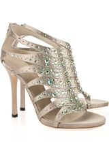 Gucci Crystalembellished Silksatin Sandals in Silver (taupe) - Lyst