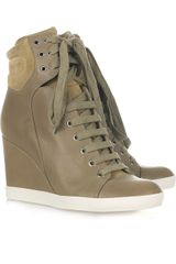 See By Chloé Lace-up Leather Wedge Ankle Boots - Lyst