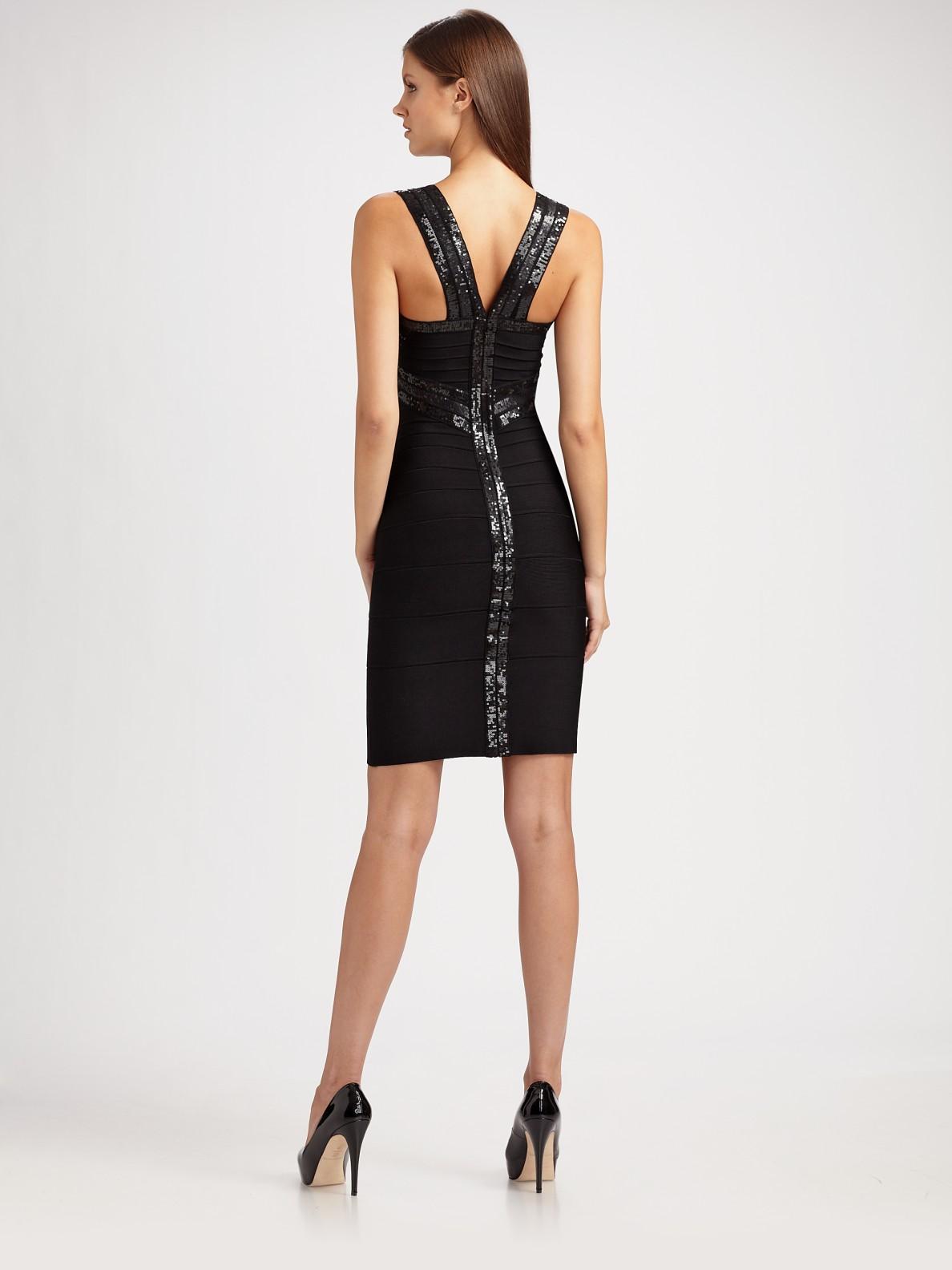 Herv 233 L 233 Ger Criss Cross Sequined Bandage Dress In Black Lyst
