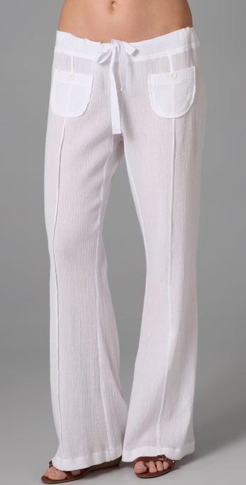 C Amp C California Beach Gauze Easy Pants In White Lyst