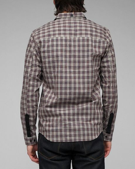 Comune edmond plaid shirt in brown for men black lyst for Brown and black plaid shirt