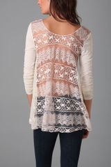 Free People Lace Back Tee - Lyst