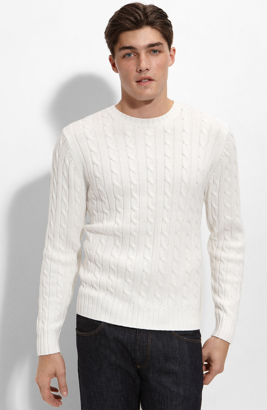 Knitting Sweaters For Men : Athletic fit cable knit cotton cashmere sweater in