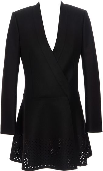 Balenciaga Collarless Perforated Coat - Lyst