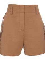 Chloé Camel Shorts with Side Fringing