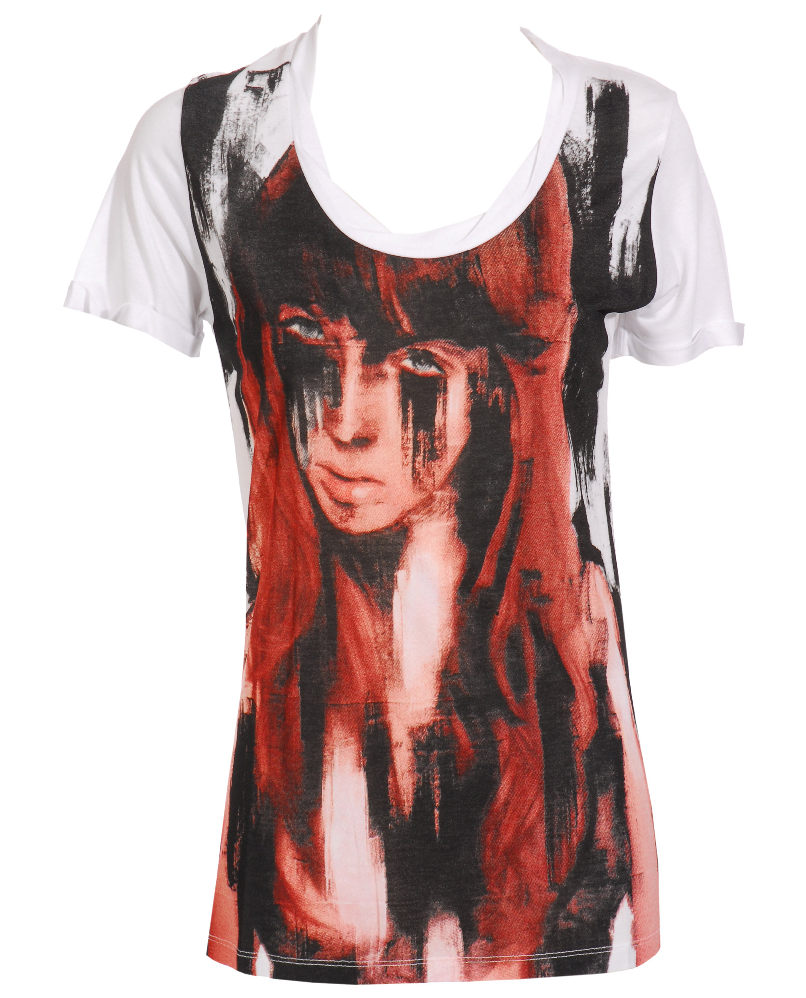 Beatrice boyle bamboo t shirt with howl red head print in for Bamboo t shirt printing