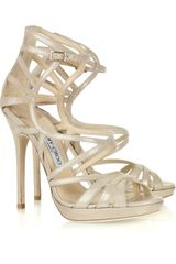 Jimmy Choo Ontario Metallic Suede Multi-strap Sandals - Lyst