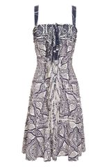 Oscar de la Renta Tiered Printed Silk Dress