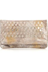 Diane Von Furstenberg Philomena Studded Snake-print Leather Clutch - Lyst