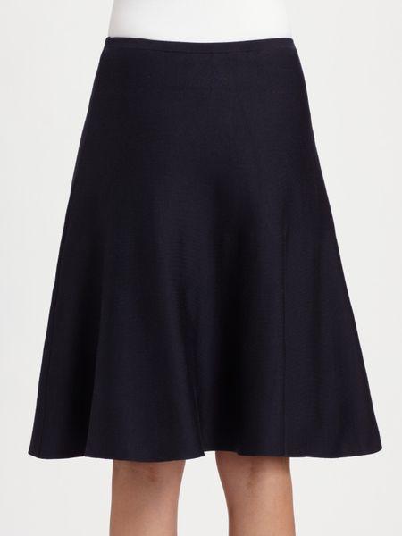 ralph black label silk knit circle skirt in blue
