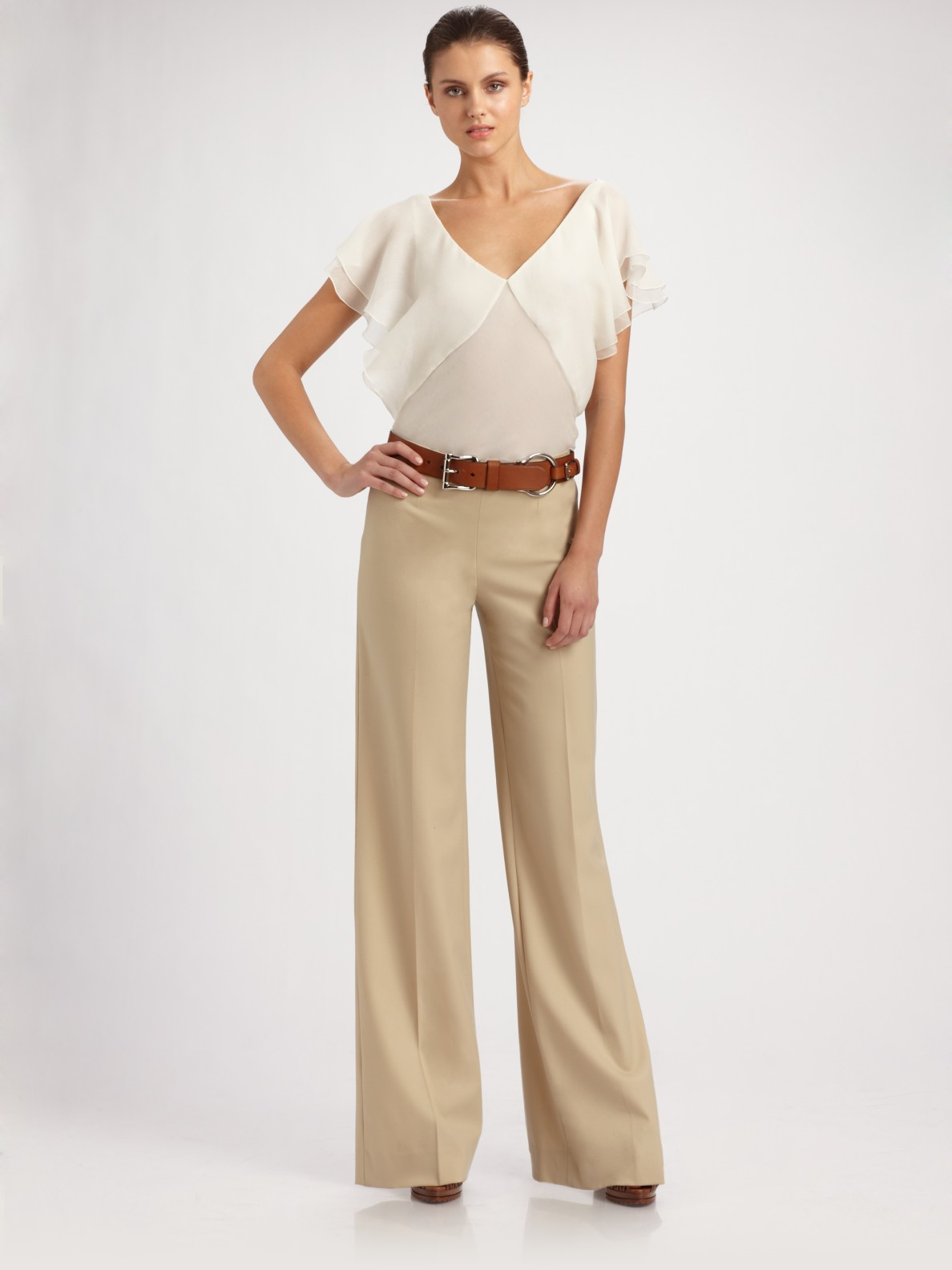 tan wide leg pants - Pi Pants