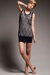 Jean Paul Gaultier Lace-overlay Striped Dress - Lyst