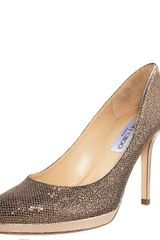 Jimmy Choo Glittered Platform Pump, Bronze - Lyst