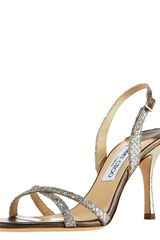 Jimmy Choo India Glittered Crisscross Slingback - Lyst