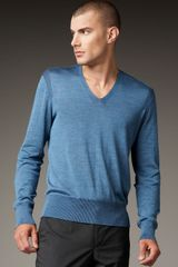 John Varvatos Plated Silk Sweater, Storm - Lyst