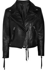 Acne Rita Textured Leather Biker Jacket - Lyst