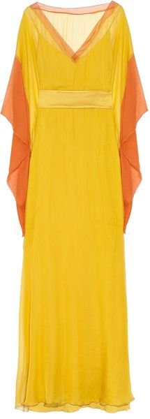 Alberta Ferretti Colorblock Silkchiffon Gown in Yellow - Lyst
