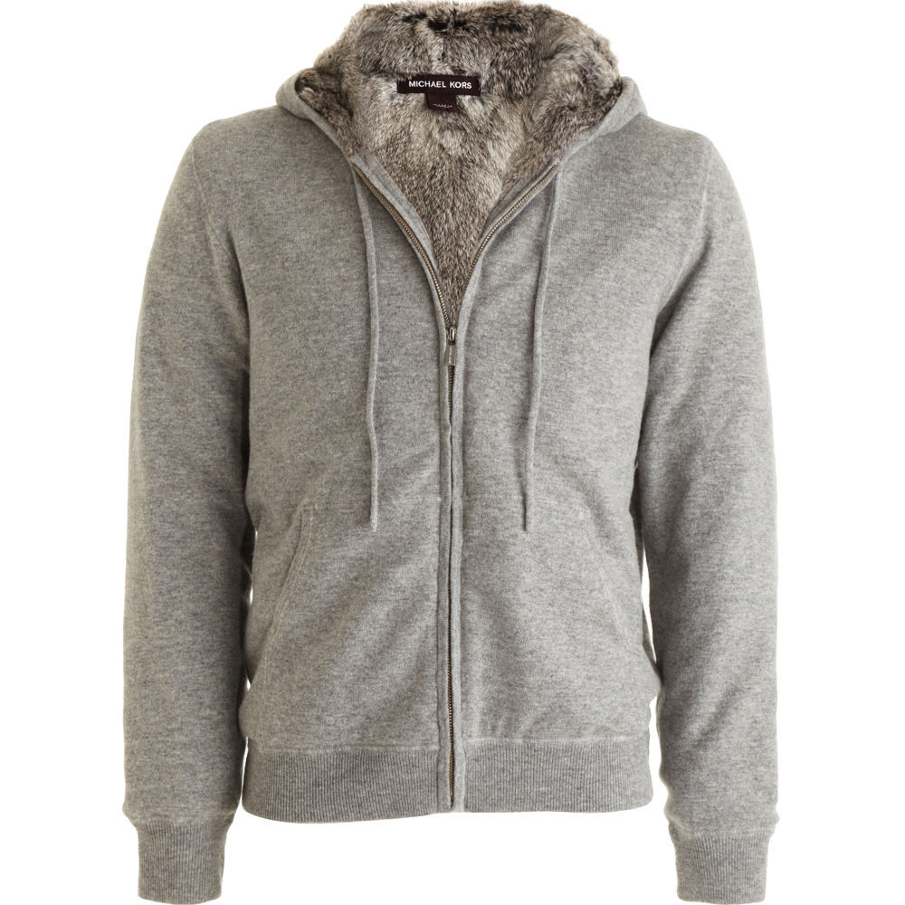 Womens Fur Lined Hoodie Sweatshirt - Sweater Grey