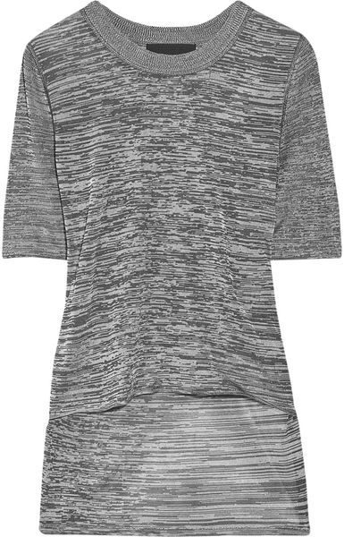Alexander Wang Knitted Marl Tshirt in Gray - Lyst