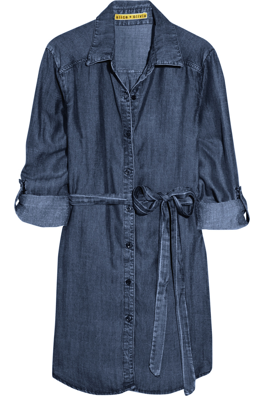 Alice Olivia Belted Chambray Shirt Dress In Blue Lyst