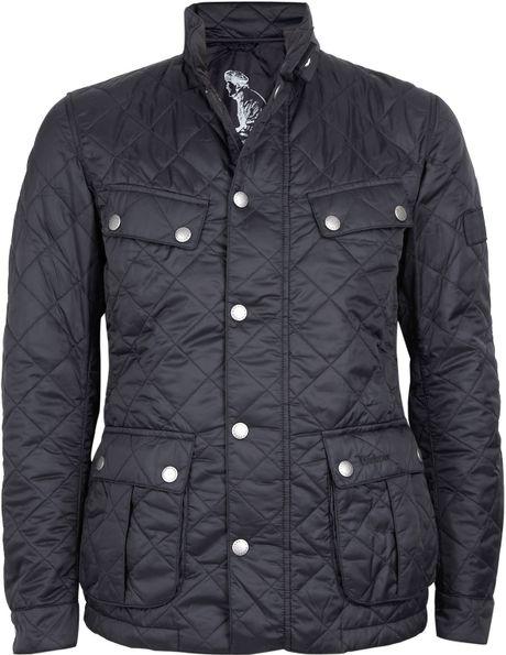 Barbour Black Quilted Nylon Ariel Motorcycle Jacket in Black for Men