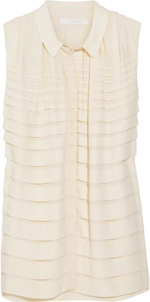 Chloé Pleated Crepe Sleeveless Blouse - Lyst