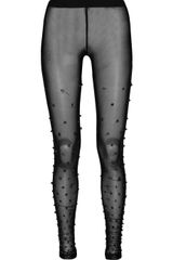 Markus Lupfer Sheer Beaded Leggings - Lyst