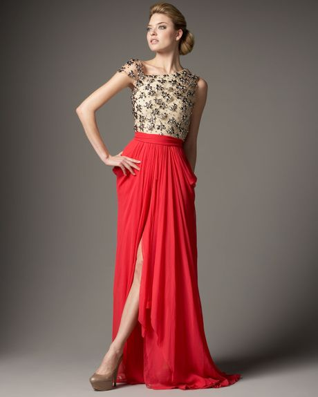 Naeem Khan Tulle & Chiffon Combo Gown in Gold (coral) - Lyst
