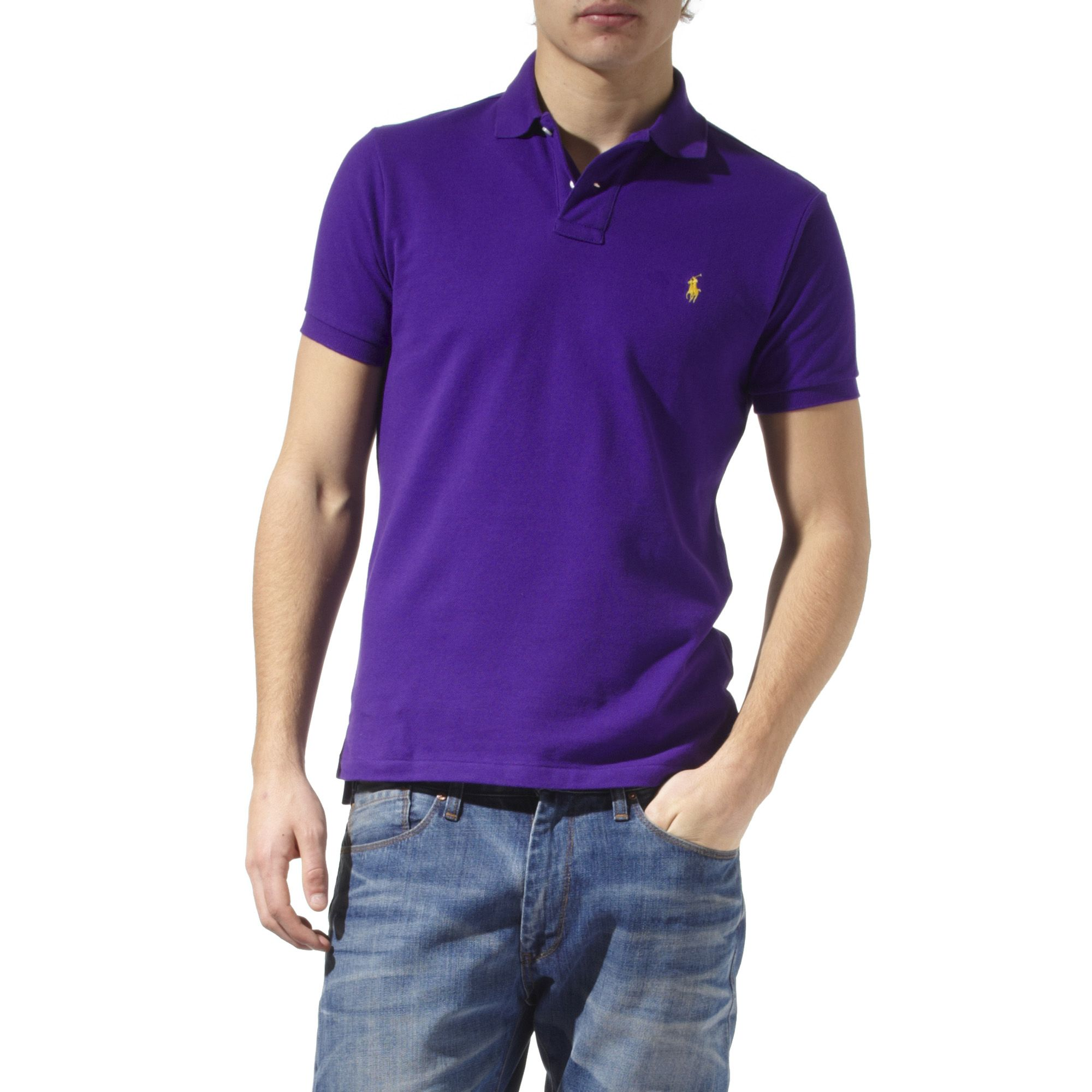 ralph lauren slim fit polo shirt in purple for men lyst. Black Bedroom Furniture Sets. Home Design Ideas
