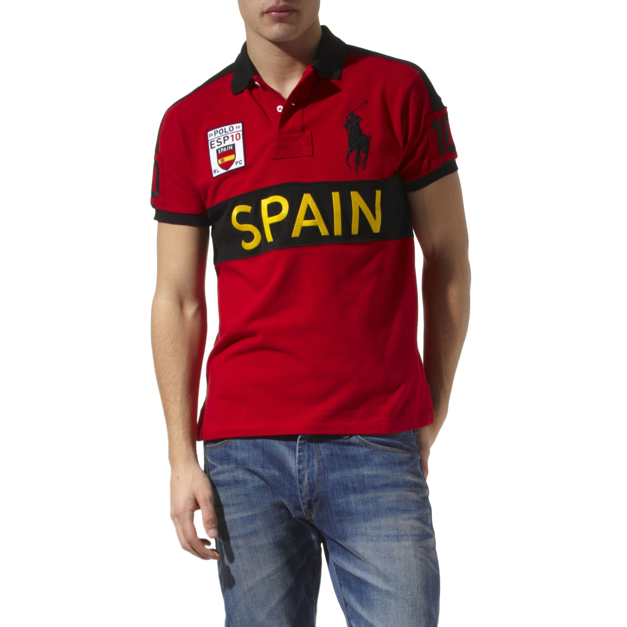 Ralph Lauren Custom Fit Country Big Pony Polo Shirt In Red