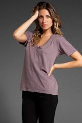 Velvet Regina Cotton Slub V Neck - Lyst