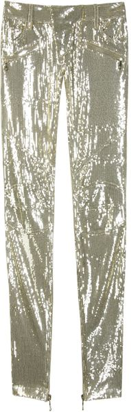 Balmain Gold Toned Biker Pants - Lyst