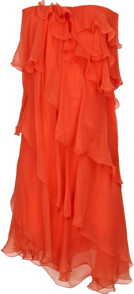 Halston Ruffle-tier Silk-chiffon Dress in Orange - Lyst
