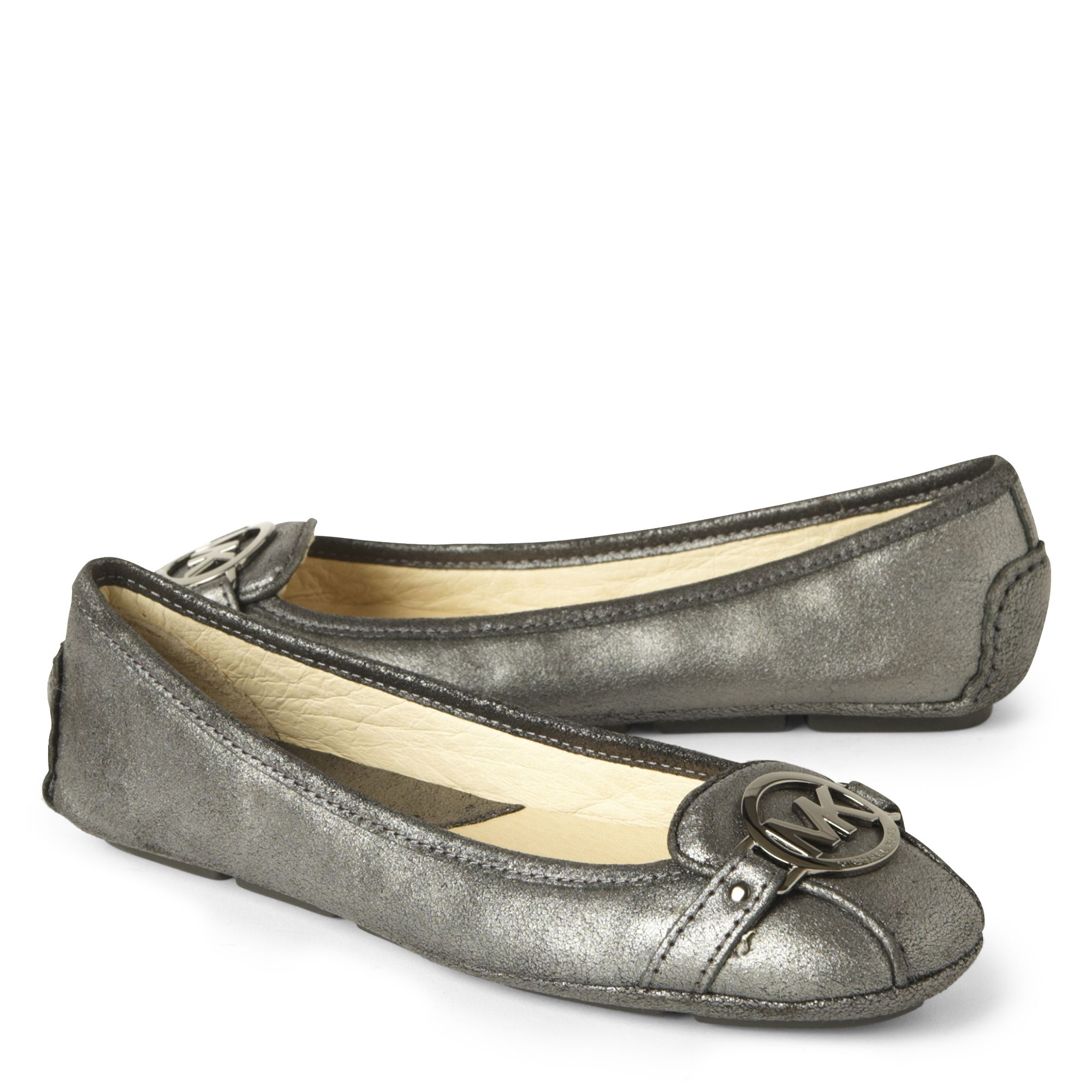 michael michael kors fulton moc ballerina pumps in silver gunmetal lyst. Black Bedroom Furniture Sets. Home Design Ideas