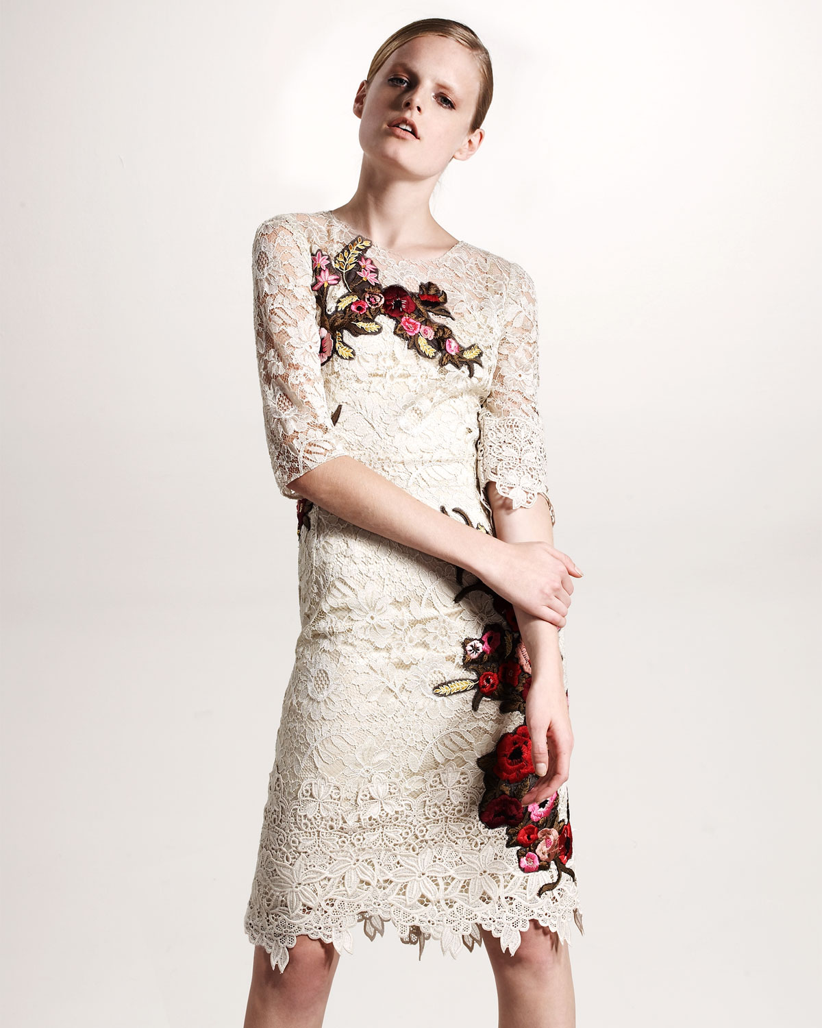 Lyst - Dolce   Gabbana Floral-embroidered Lace Dress in Natural 48817dd54