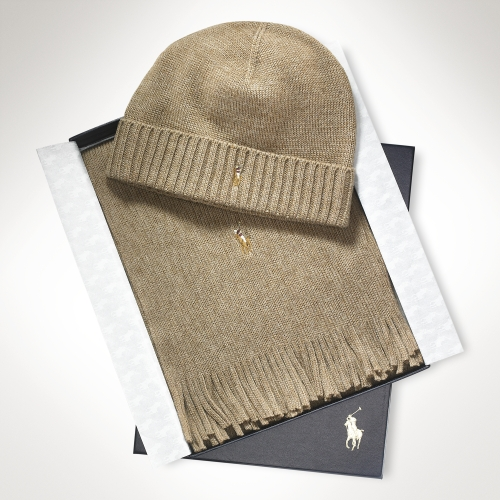 f14e3af8c ... usa polo ralph lauren merino wool hat scarf set in brown for men lyst  c5ed3 080eb