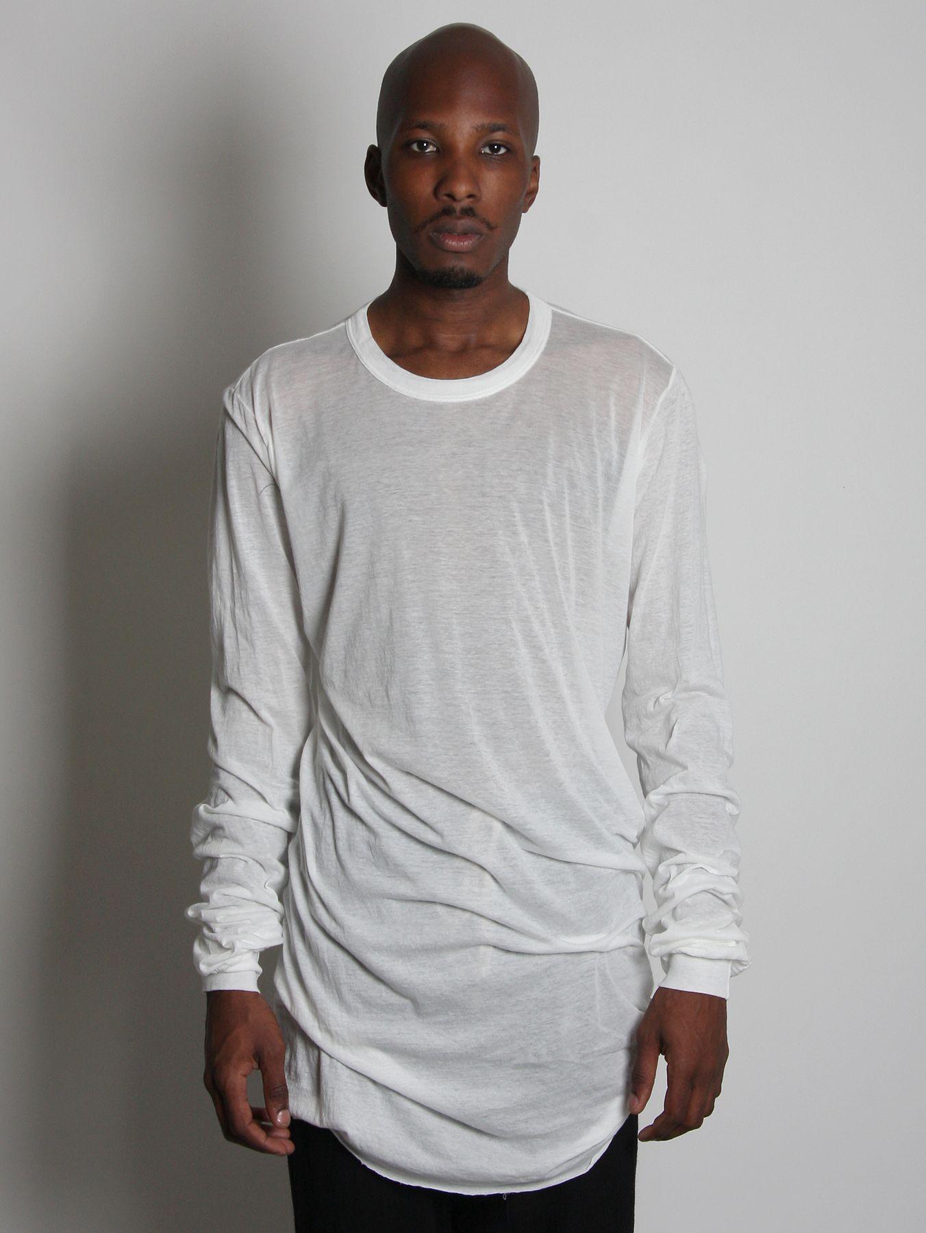 Rick owens mens white long sleeve semi sheer t shirt in for Mens long sleeve white t shirt