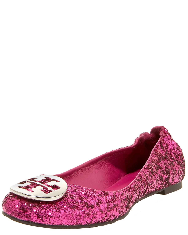 tory burch reva glittered ballerina fuchsia in pink hot pink lyst. Black Bedroom Furniture Sets. Home Design Ideas