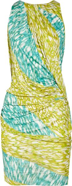 Peter Pilotto Printed Silk Mini Dress in Green (white)
