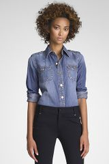 Tory Burch Brigitte Denim Blouse - Lyst