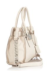 Michael Kors Michael Hamilton Leather Satchel in White (Cream) - Lyst