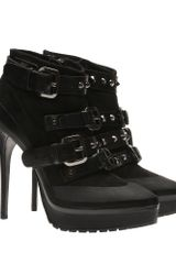 Burberry Leather and Suede Platform Ankle Boots - Lyst
